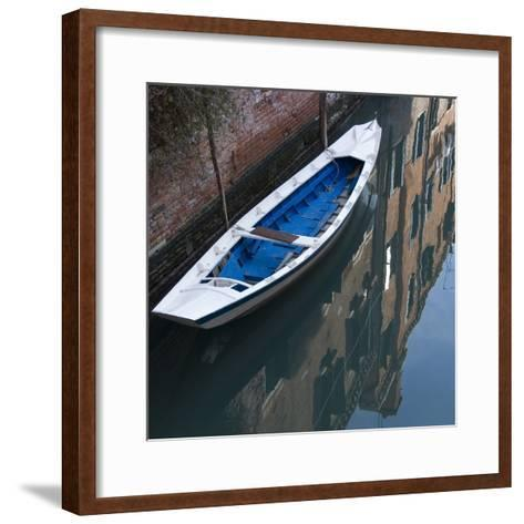 Venice Sense of Place. Blue and White Boat on Canal-Mike Burton-Framed Art Print