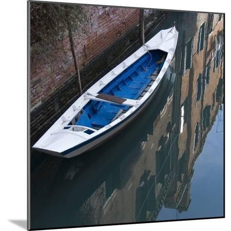 Venice Sense of Place. Blue and White Boat on Canal-Mike Burton-Mounted Photographic Print