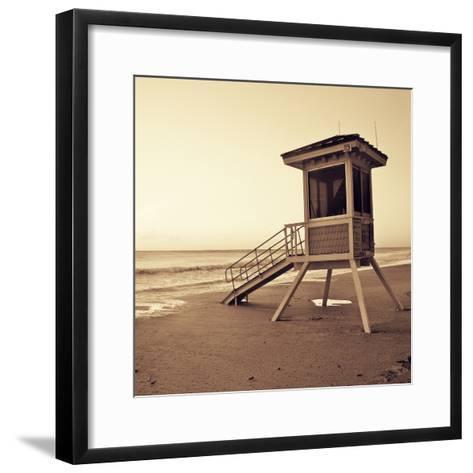 Sepia Life Guard Tower I-Jairo Rodriguez-Framed Art Print