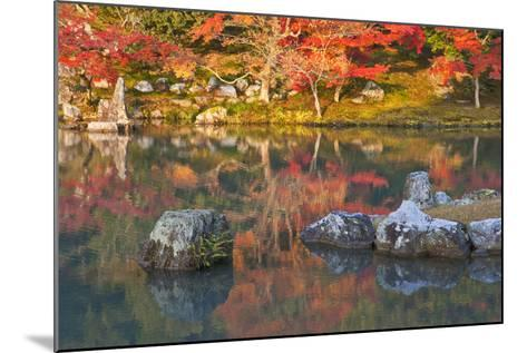 Morning Sunlight Illuminates Autumn Foliage and Reflections in Pond, Sogen Garden, Tenryuji Temple-Ben Simmons-Mounted Photographic Print