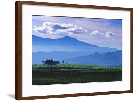 Farm on a Hill Near Pienza-Marcel Malherbe-Framed Art Print