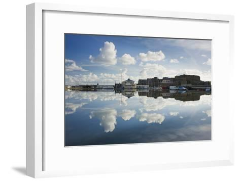 Guernsey Yacht Club and Castle Cornet in the Still Reflections of a Model Boat Pond, St Peter Port-David Clapp-Framed Art Print