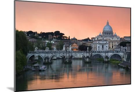 Ponte Sant'Angelo and St. Peter's Basilica at Sunset, Vatican City, Rome-David Clapp-Mounted Photographic Print