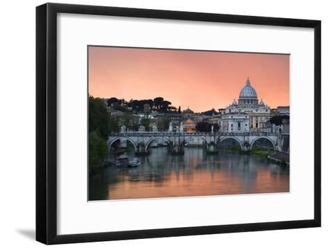 Ponte Sant'Angelo and St. Peter's Basilica at Sunset, Vatican City, Rome-David Clapp-Framed Art Print