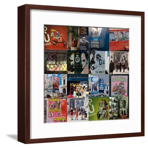 Multiple Compilation of Graphic Posters in Venice, Italy-Mike Burton-Framed Art Print