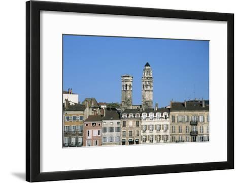 Town. Eglise Vieux Saint-Vincent. Two Stone Towers. Historic Houses- LatitudeStock-Framed Art Print