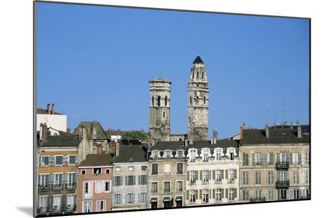 Town. Eglise Vieux Saint-Vincent. Two Stone Towers. Historic Houses- LatitudeStock-Mounted Photographic Print
