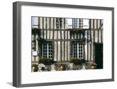 A Typical Traditional Timber Framed Building with Flowers in Window Boxes- LatitudeStock-Framed Art Print