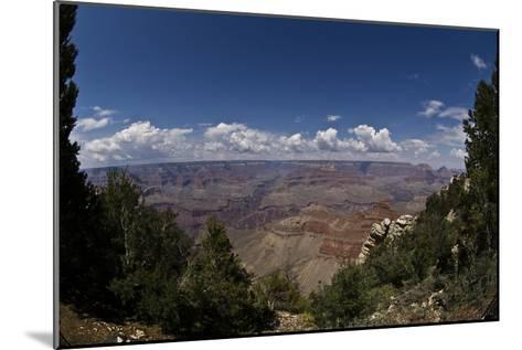 Grand Canyon, Arizona, Viewed Through a Gap in Trees, with Numerous Clouds on the Horizon-Mike Kirk-Mounted Photographic Print