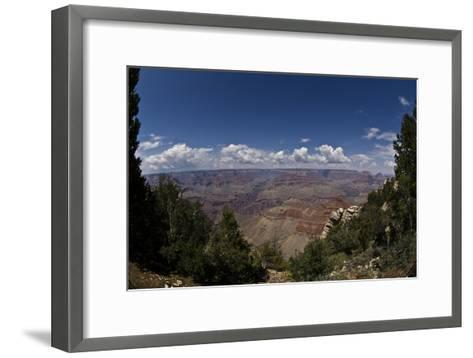 Grand Canyon, Arizona, Viewed Through a Gap in Trees, with Numerous Clouds on the Horizon-Mike Kirk-Framed Art Print