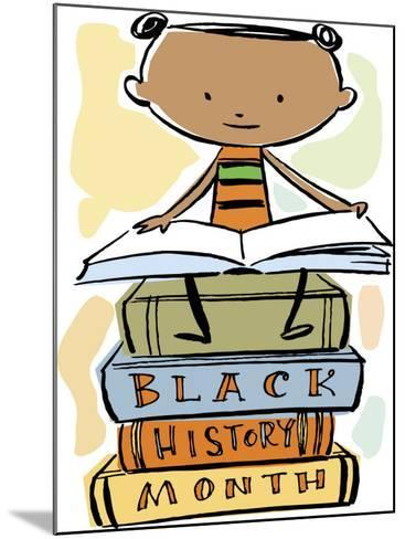 Book Reading Atop Books During Black History Month--Mounted Photo