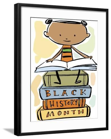 Book Reading Atop Books During Black History Month--Framed Art Print