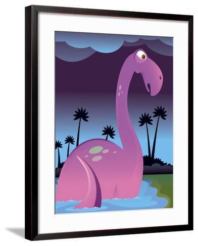 Purple Dinosaur in Lake--Framed Art Print