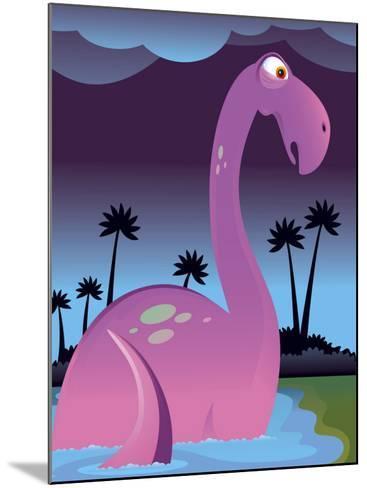 Purple Dinosaur in Lake--Mounted Photo