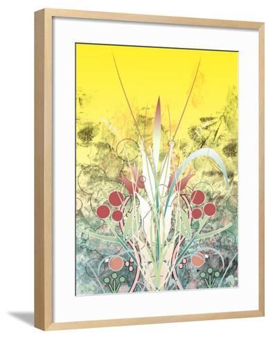 Yellow Sky over Growing Plants--Framed Art Print