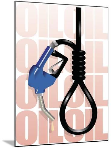 Gas Pump Nozzle and Hose Tied in Noose--Mounted Photo