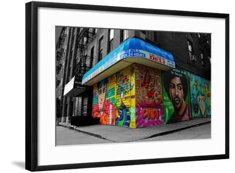 Graffiti on storefronts in NYC--Framed Art Print