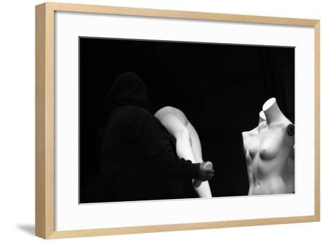 Mannequins Being Assembled in Black and White--Framed Art Print