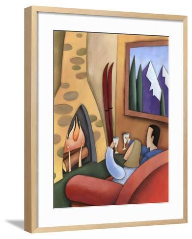 Couple Drinking Wine Together at Ski Lodge--Framed Art Print