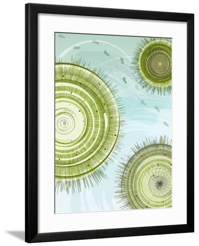 Aerial View of Footprints in Snow Among Trees--Framed Art Print