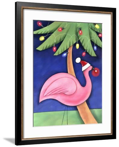 Flamingo Lawn Ornament and Christmas Lights in Palm Trees--Framed Art Print