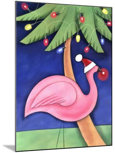 Flamingo Lawn Ornament and Christmas Lights in Palm Trees--Mounted Photo
