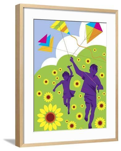 Boy and Girl Running with Kites in Country Field--Framed Art Print
