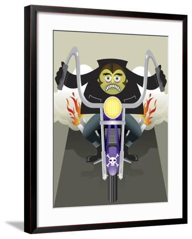 Demon Riding Motorcycle with Flaming Exhaust--Framed Art Print