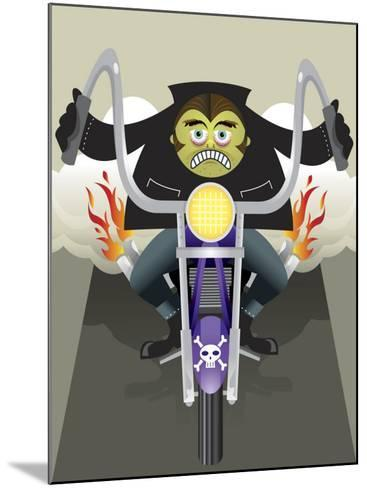 Demon Riding Motorcycle with Flaming Exhaust--Mounted Photo