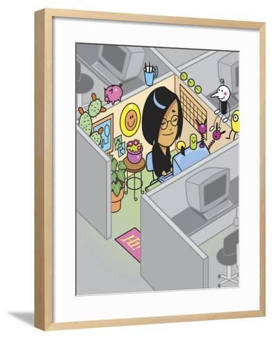 Smiling Woman in Colorful Decorated Office Cubicle--Framed Art Print