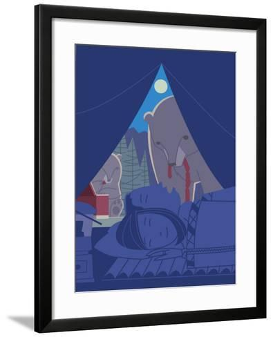Couple Sleeping in Tent While Bears Eat Food--Framed Art Print