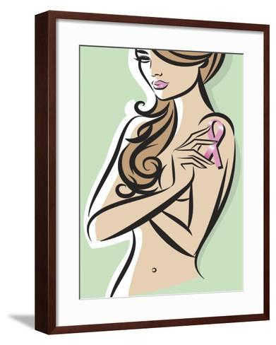 Nude Woman Posing with Pink Ribbon for Breast Cancer Awareness--Framed Art Print