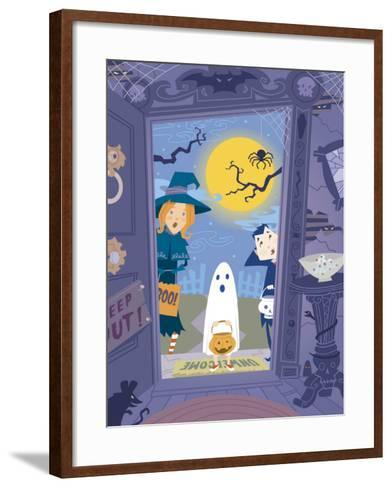 Three Trick-Or-Treaters at Scary House--Framed Art Print