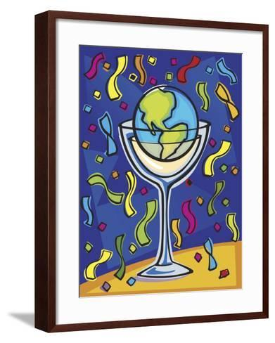 Celebration with Confetti and World Globe in Alcohol Glass--Framed Art Print
