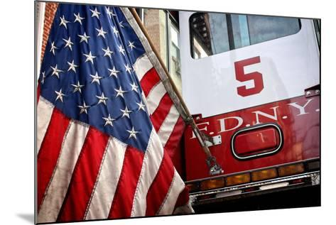 FDNY Truck with American Flag--Mounted Photo