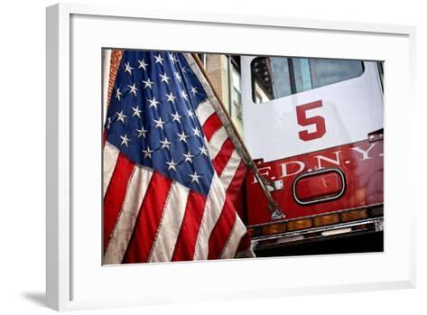 FDNY Truck with American Flag--Framed Art Print