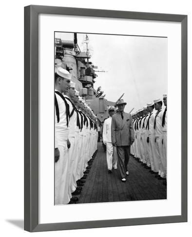 President Harry Truman Inspects the Personnel of the Uss Missouri--Framed Art Print