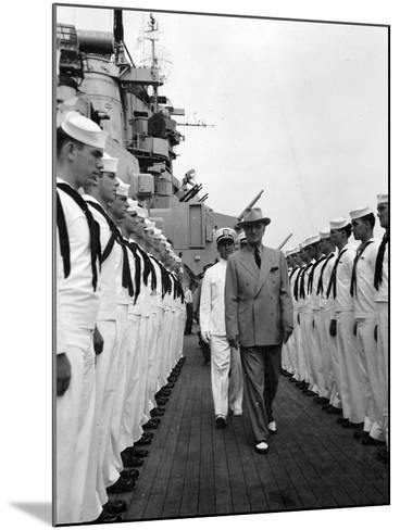President Harry Truman Inspects the Personnel of the Uss Missouri--Mounted Photo