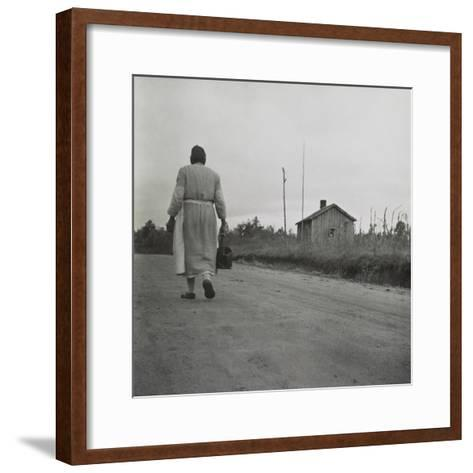 African American Midwife Carrying Her Medical Bag on a Dirt Road in Georgia--Framed Art Print