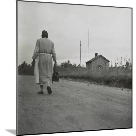 African American Midwife Carrying Her Medical Bag on a Dirt Road in Georgia--Mounted Photo