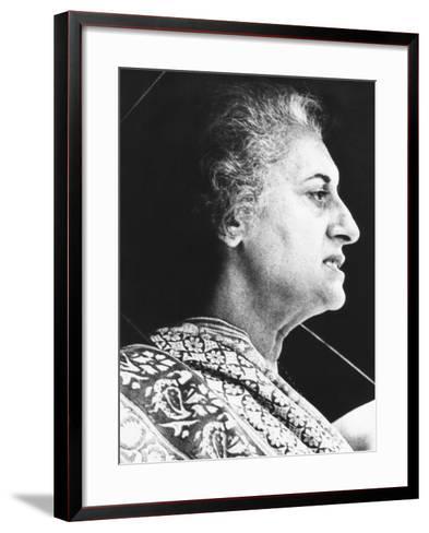 India's Prime Minister Indira Gandhi Speaks to Supporters on June 18, 1975--Framed Art Print