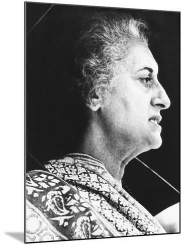 India's Prime Minister Indira Gandhi Speaks to Supporters on June 18, 1975--Mounted Photo