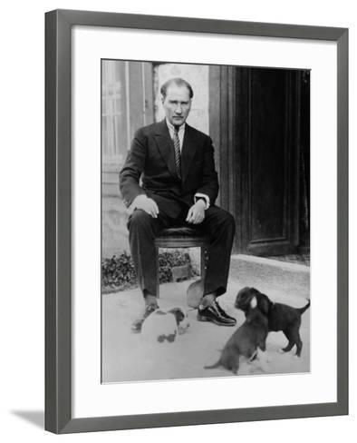 Mustafa Kemal Ataturk, President of Turkey, with His Pet Dogs, Ca. 1930--Framed Art Print