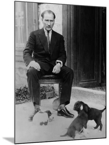 Mustafa Kemal Ataturk, President of Turkey, with His Pet Dogs, Ca. 1930--Mounted Photo