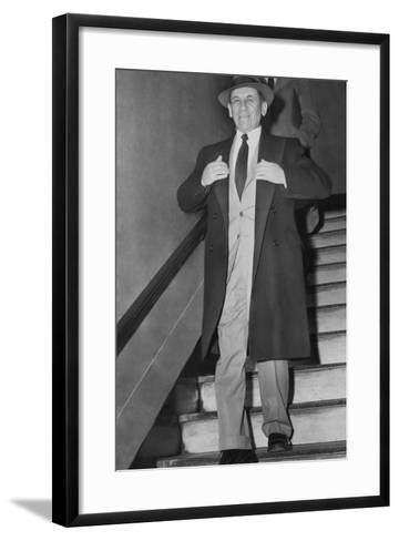 Gangster Meyer Lansky Leaving Manhattan Arrest Court on Feb--Framed Art Print