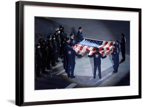 The Us Olympic Team Holds the American Flag That Flew over the Ground Zero--Framed Art Print