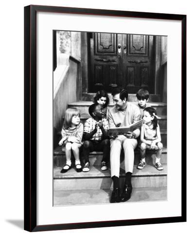 Robert Emmet Mcgrath, as Character Bob Johnson, Reading to Children on Seseme Street, 1970--Framed Art Print