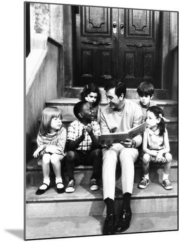 Robert Emmet Mcgrath, as Character Bob Johnson, Reading to Children on Seseme Street, 1970--Mounted Photo