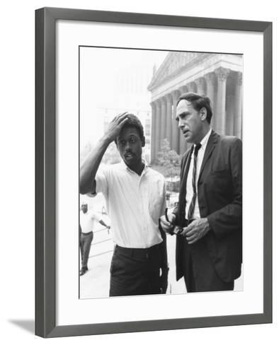 Ralph Featherstone of Sncc with Civil Rights Attorney, William Kunstler, Outside Federal Court--Framed Art Print