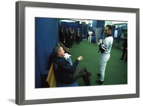 President George W. Bush Derek Jeter before the First Pitch in Game 3 of the World Series--Framed Art Print